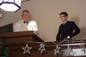Colby Wagner Helps to Run Trinity UCC's Media During Worship