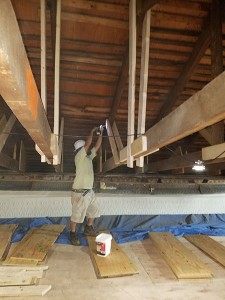 Repairs Begin to the Structural Damage - Each of the 22 Trusses Are Stabilized and Reinforced - A Gusset Before Bolts 2