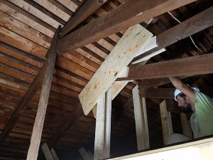 Repairs Begin to the Structural Damage - Each of the 22 Trusses Are Stabilized and Reinforced - A Gusset Before Bolts 4