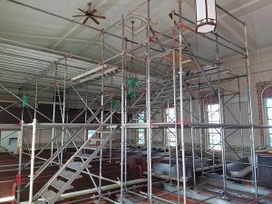 Scaffolding Mid-Dance Floor Beams