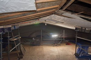 Showing Dance Floor Work Area Above Scaffolding and Progress of the Removal of the Tin Ceiling