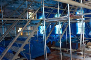 Showing the Intricate Scaffolding Detail with Stairways Leading Up 21 Feet to the Dance Floor Work Area