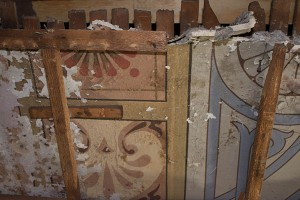 Under the Tin Ceiling, a Damaged Original Plaster Ceiling with Decorative Stenciling Was Found